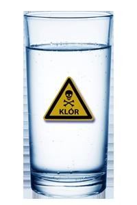 klóros pohár víz